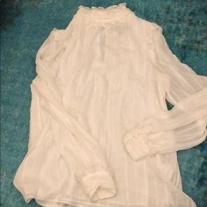 Max Studio London white long sleeve blouse medium